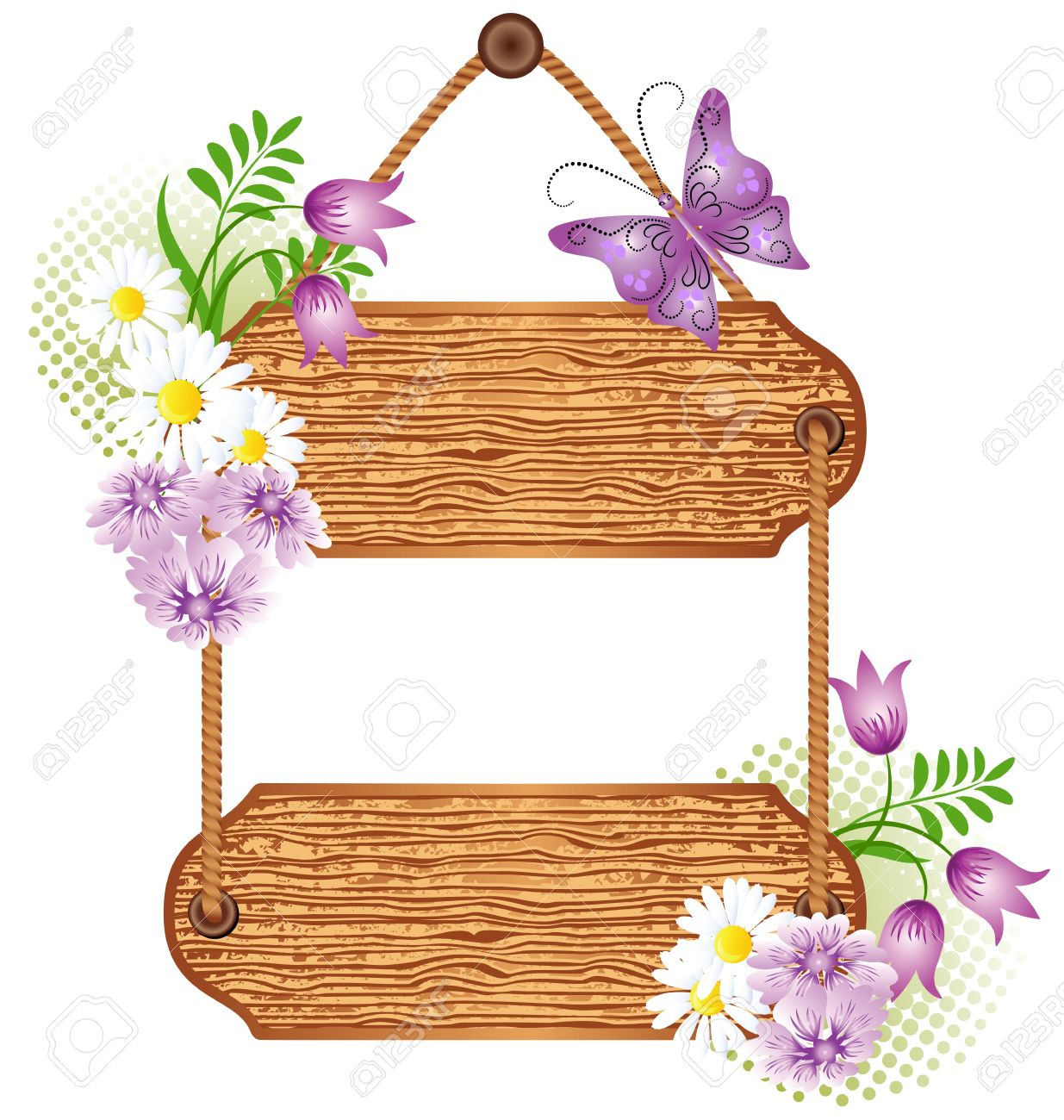 Wooden signboard with flowers for text Stock Vector - 10194558