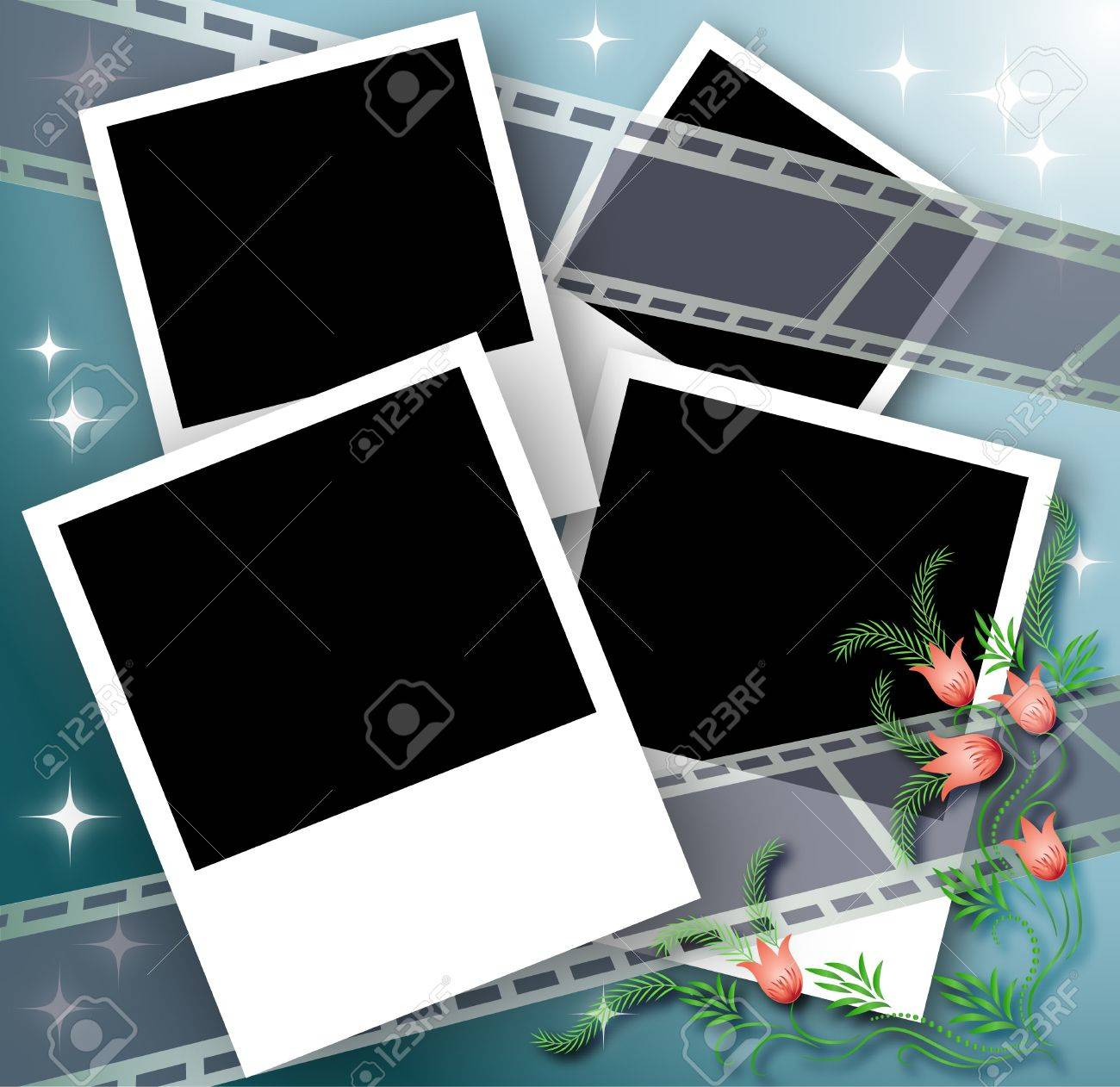 Page layout photo album with flowers and filmstrip Stock Vector - 10290912