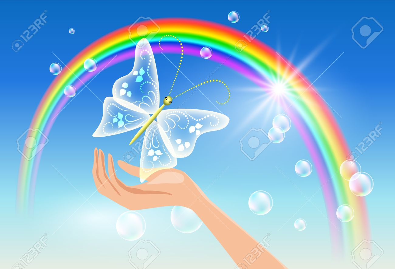 the hand holds a transparent butterfly against a rainbow symbol
