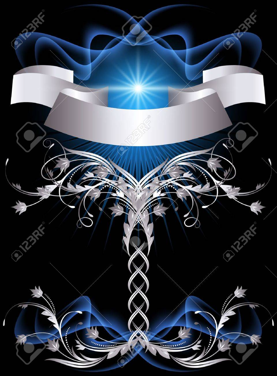 Background with glowing stars and silver ornament Stock Vector - 10300009
