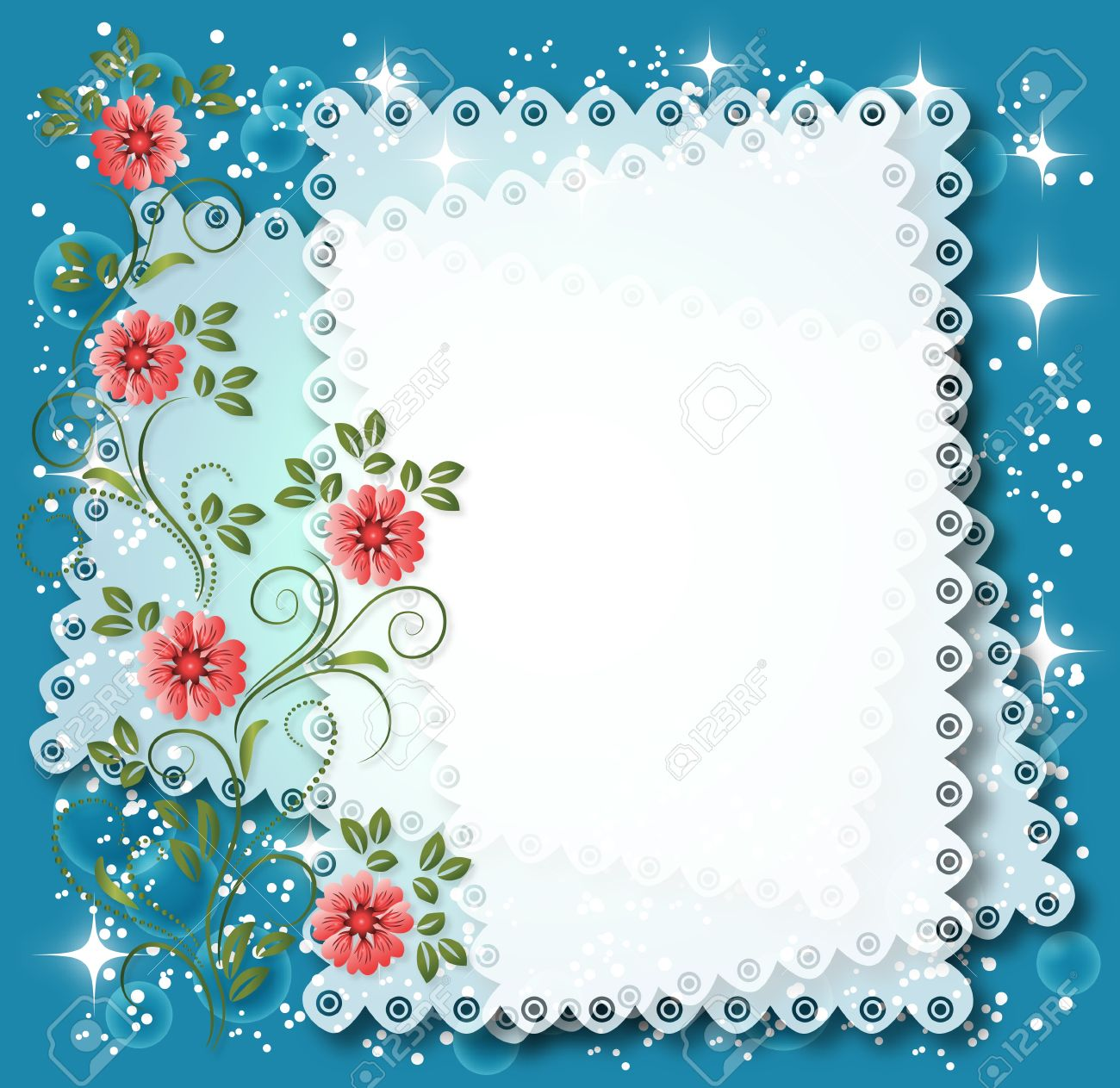 Magic floral background with stars and a place for text or photo. Stock Vector - 10343149