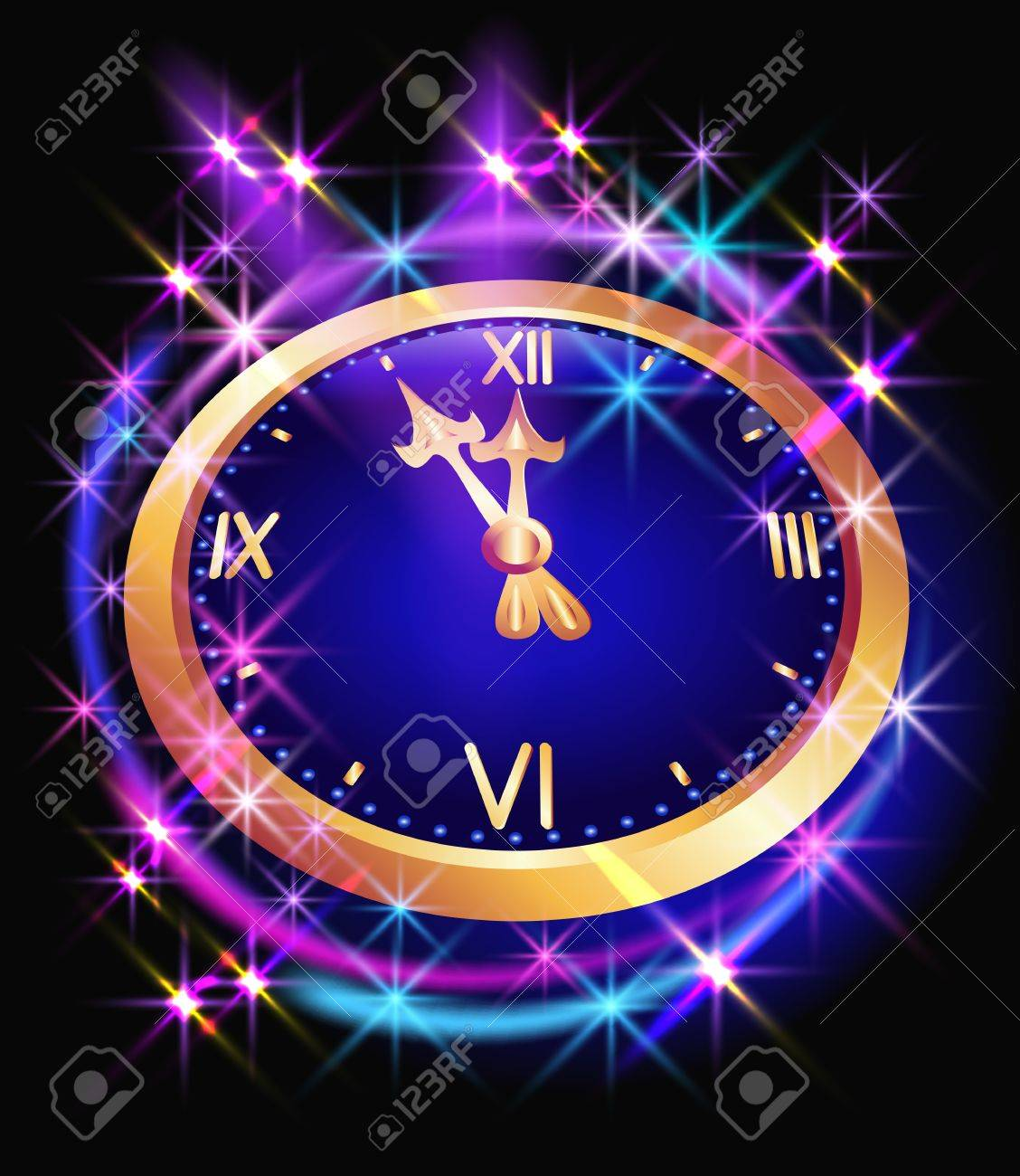 Glowing background with clock and stars Stock Vector - 10490629