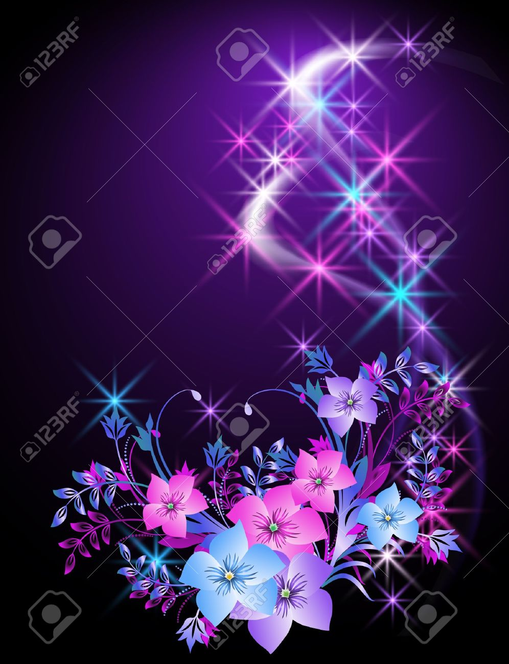 Glowing background with flowers and stars Stock Vector - 10630583