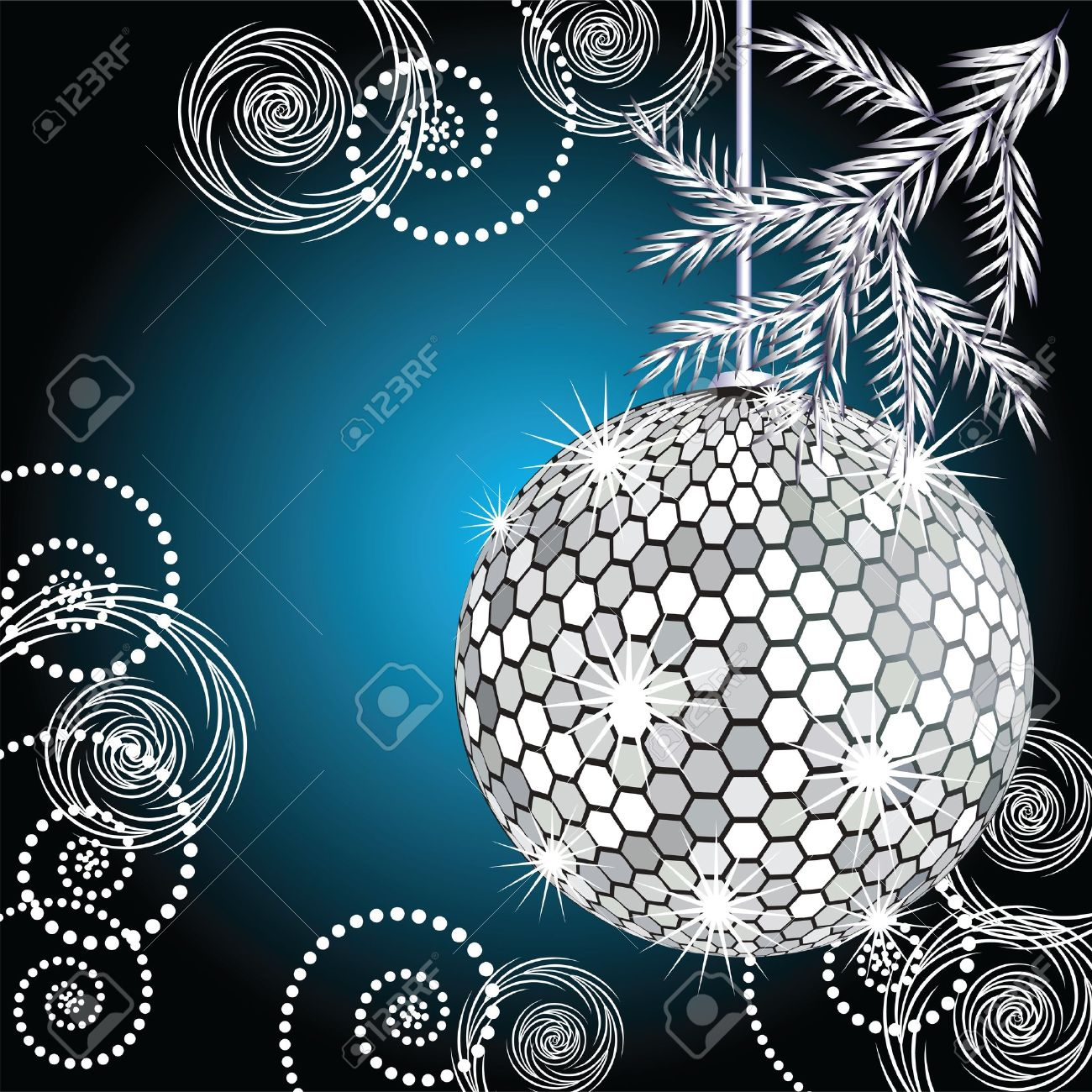 Disco ball with silver fur tree Stock Vector - 10694244