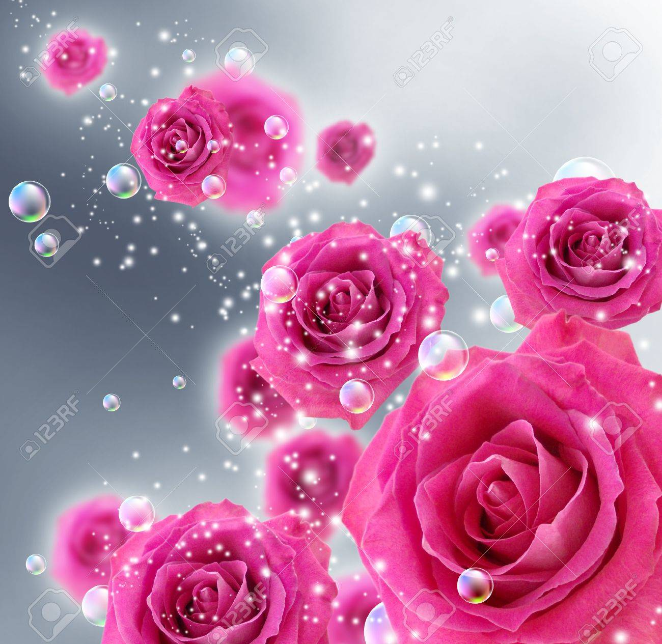 Card with roses and bubbles Stock Photo - 10774277