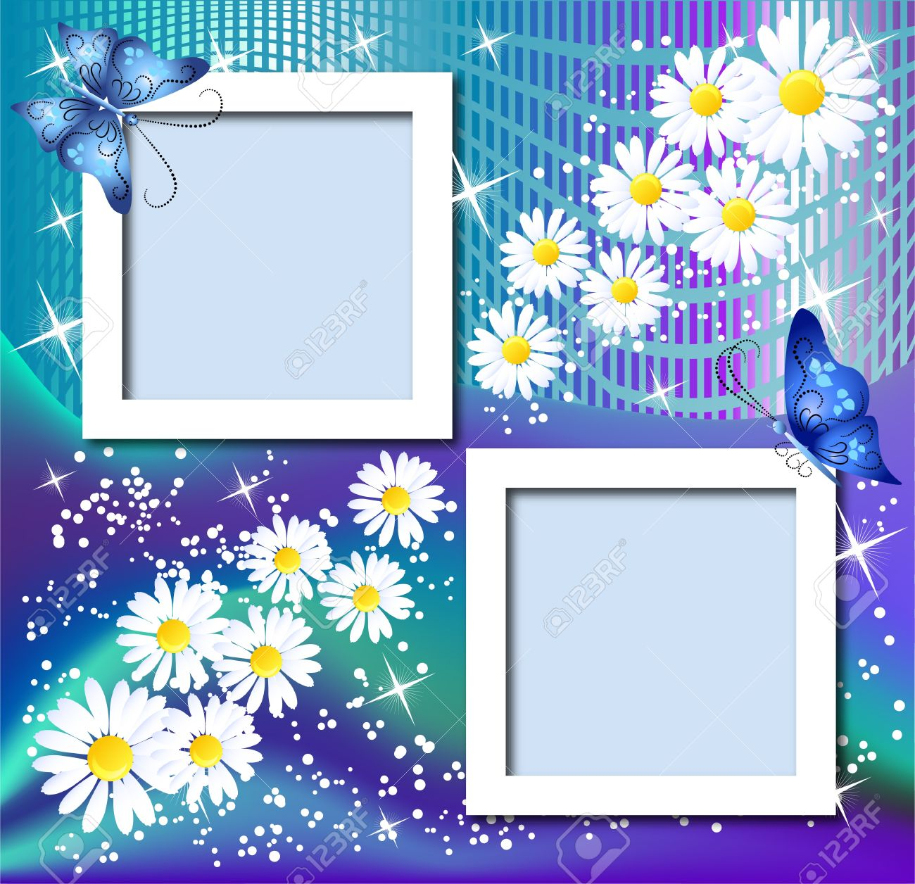 design photo frames with flowers and butterfly stock vector 10804808