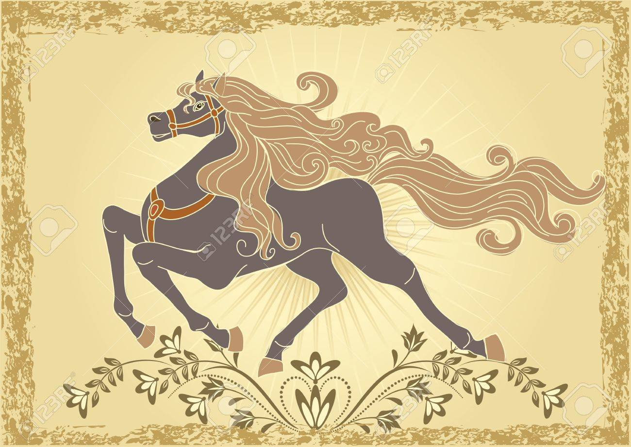 Background with horse and ornament Stock Vector - 10804830