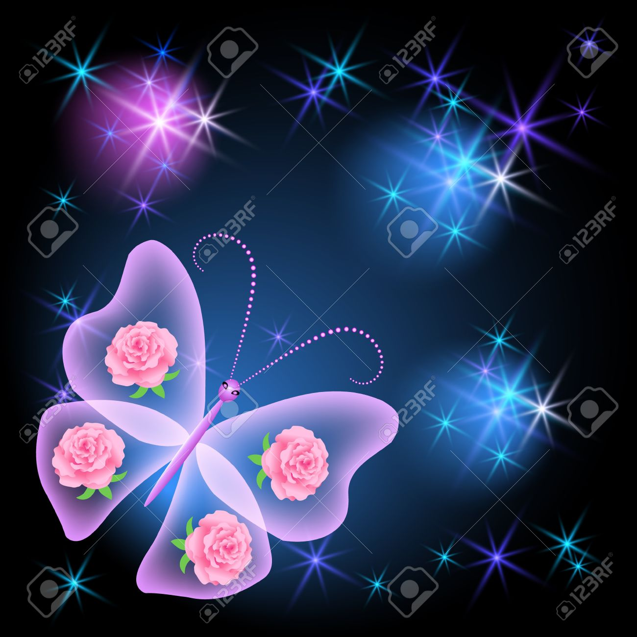 Glowing background transparent butterfly and stars Stock Vector - 10804839