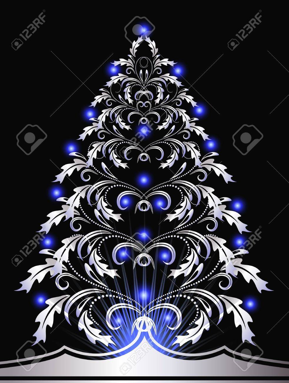 Christmas Silver Fur Tree With Blue Lights Stock Vector   11087469
