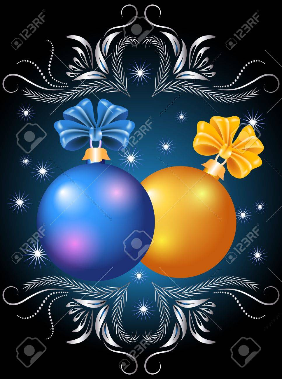 Christmas card with blue and yellow balls Stock Vector - 11149005