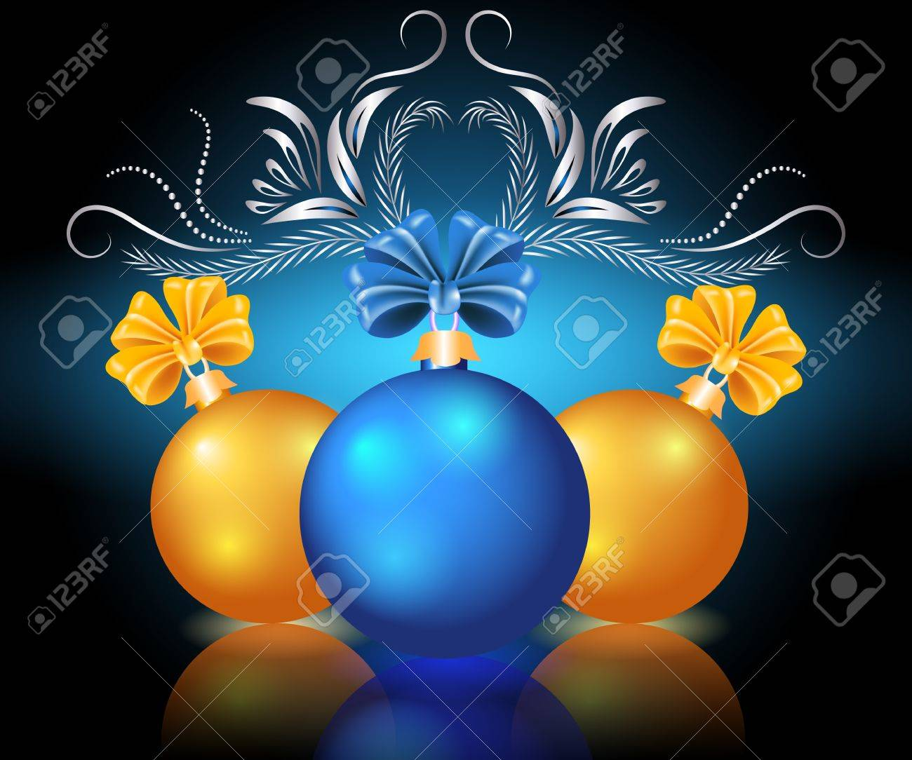 Christmas card with blue and yellow balls Stock Vector - 11149059