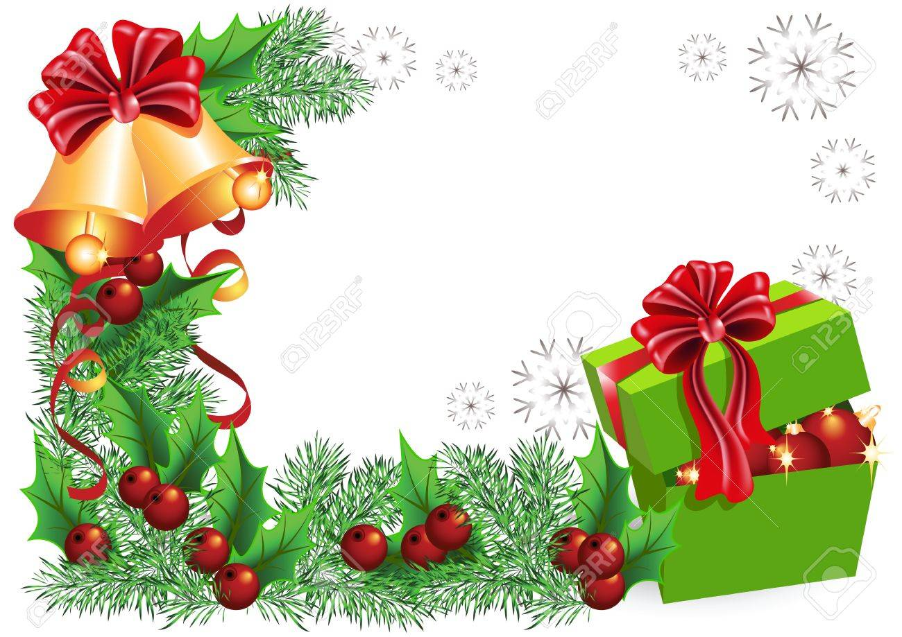 gift box bells with red bows and christmas decorations stock vector 11149043