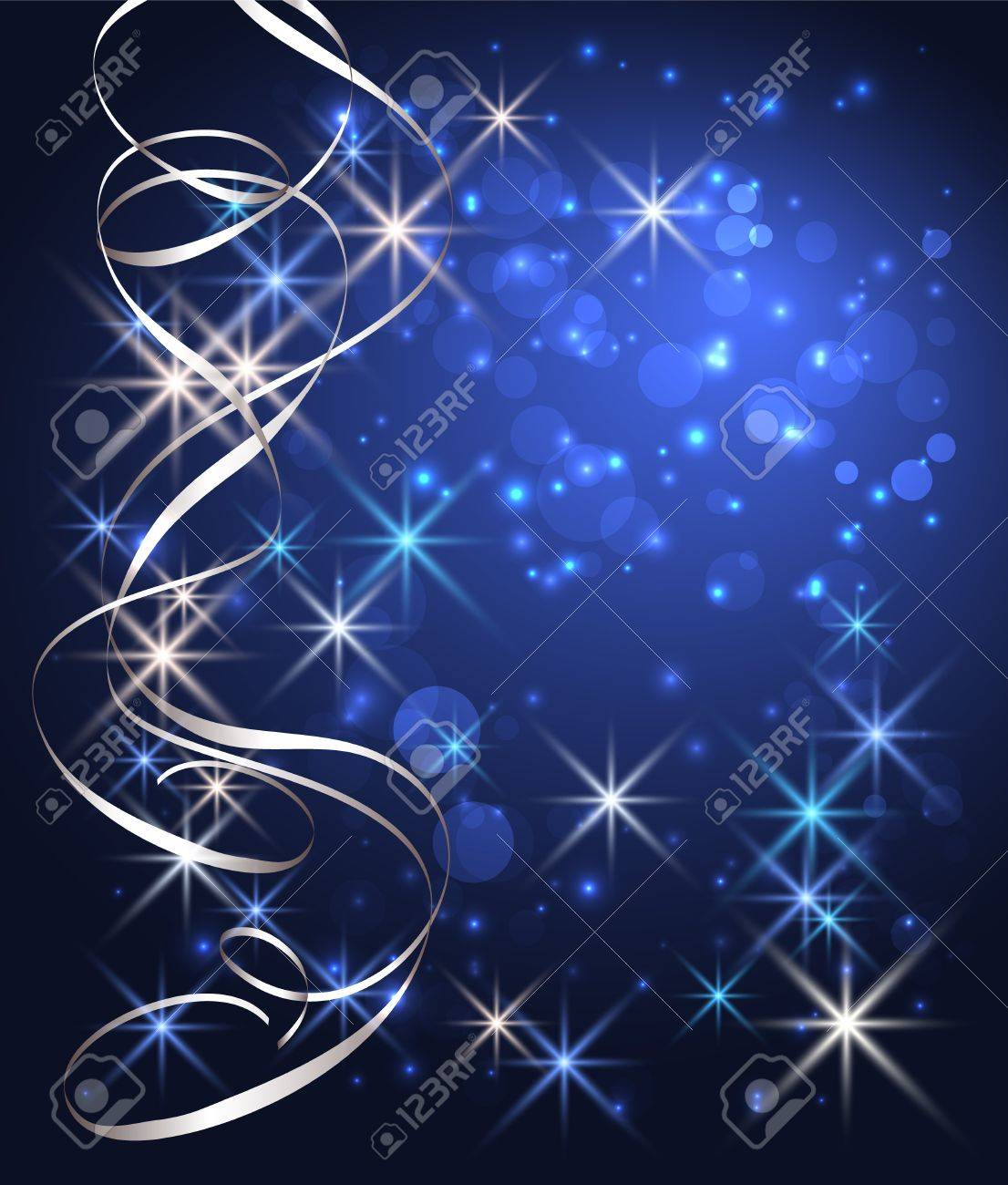 Christmas glowing background with stars and silver serpentine Stock Vector - 11149055