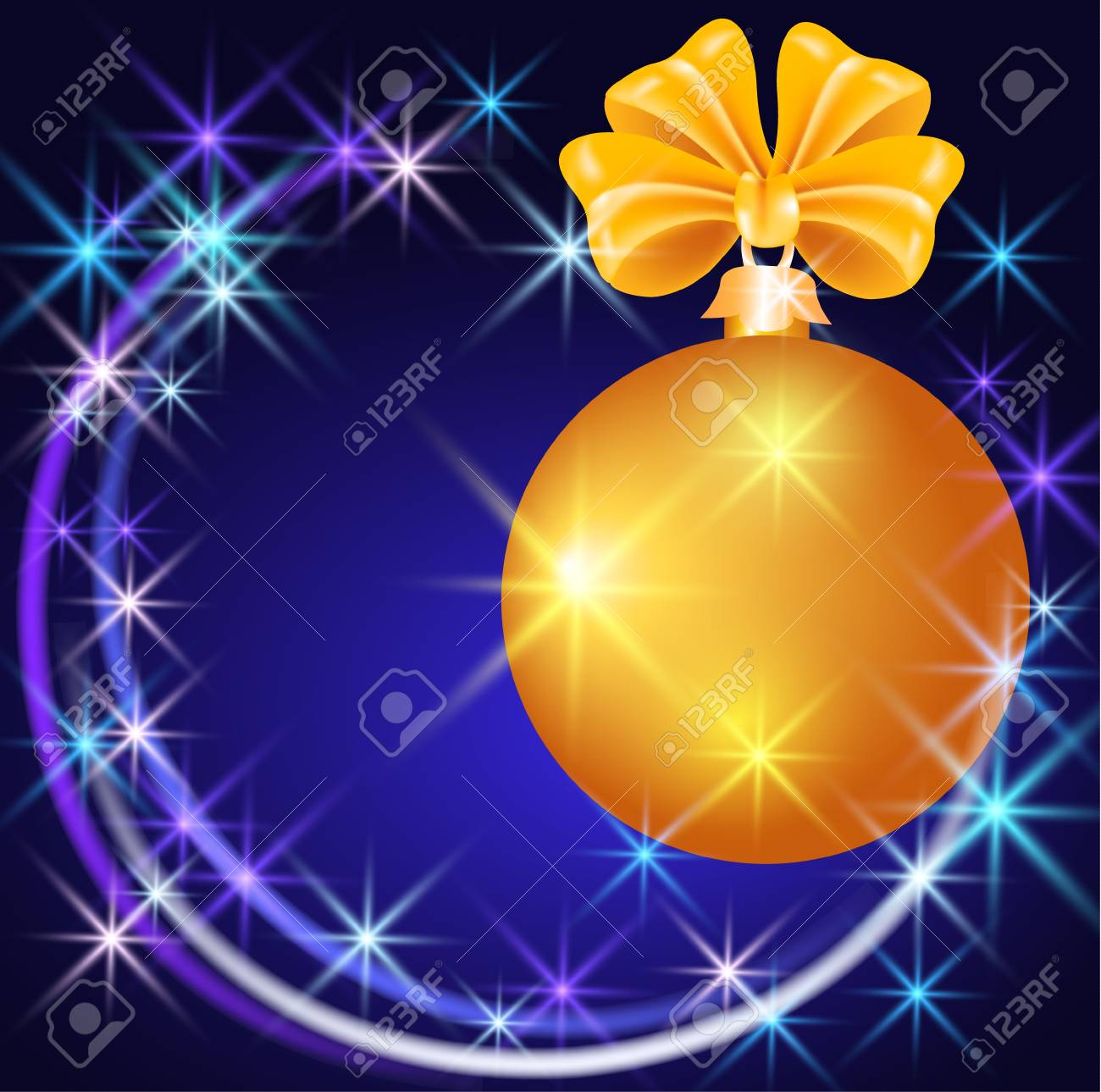 Christmas ball  with  sparkling  stars Stock Vector - 11204814