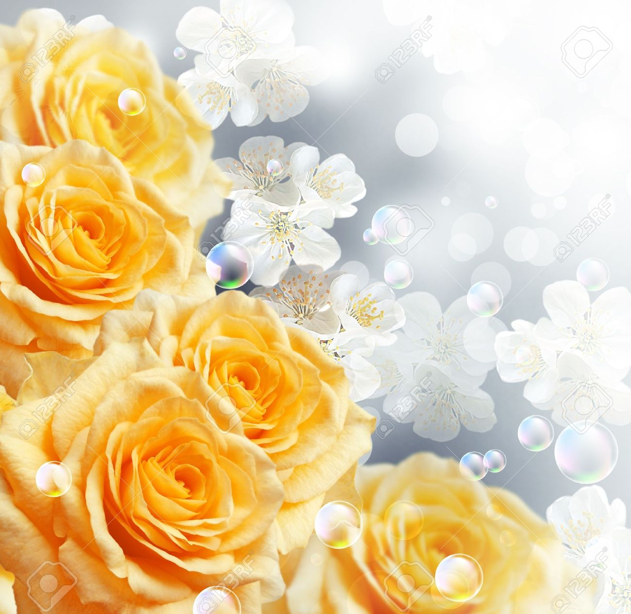 Card with yellow roses Stock Photo - 11288332