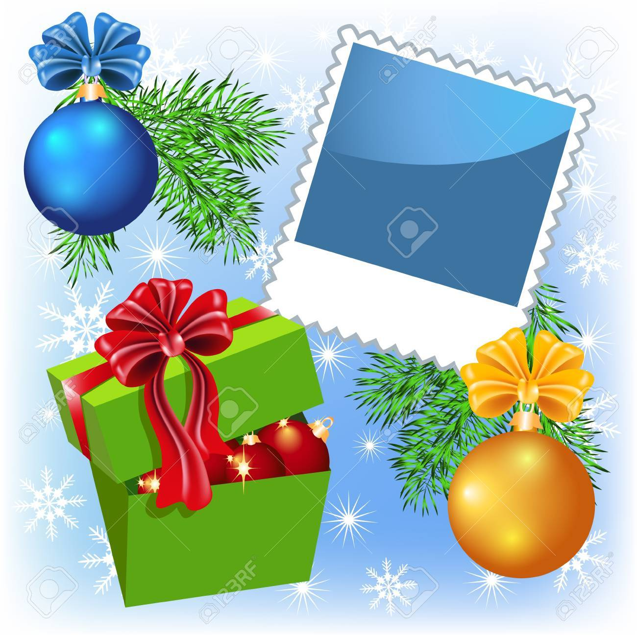 Page layout photo frame with Christmas balls and Gift Box Stock Vector - 11466480