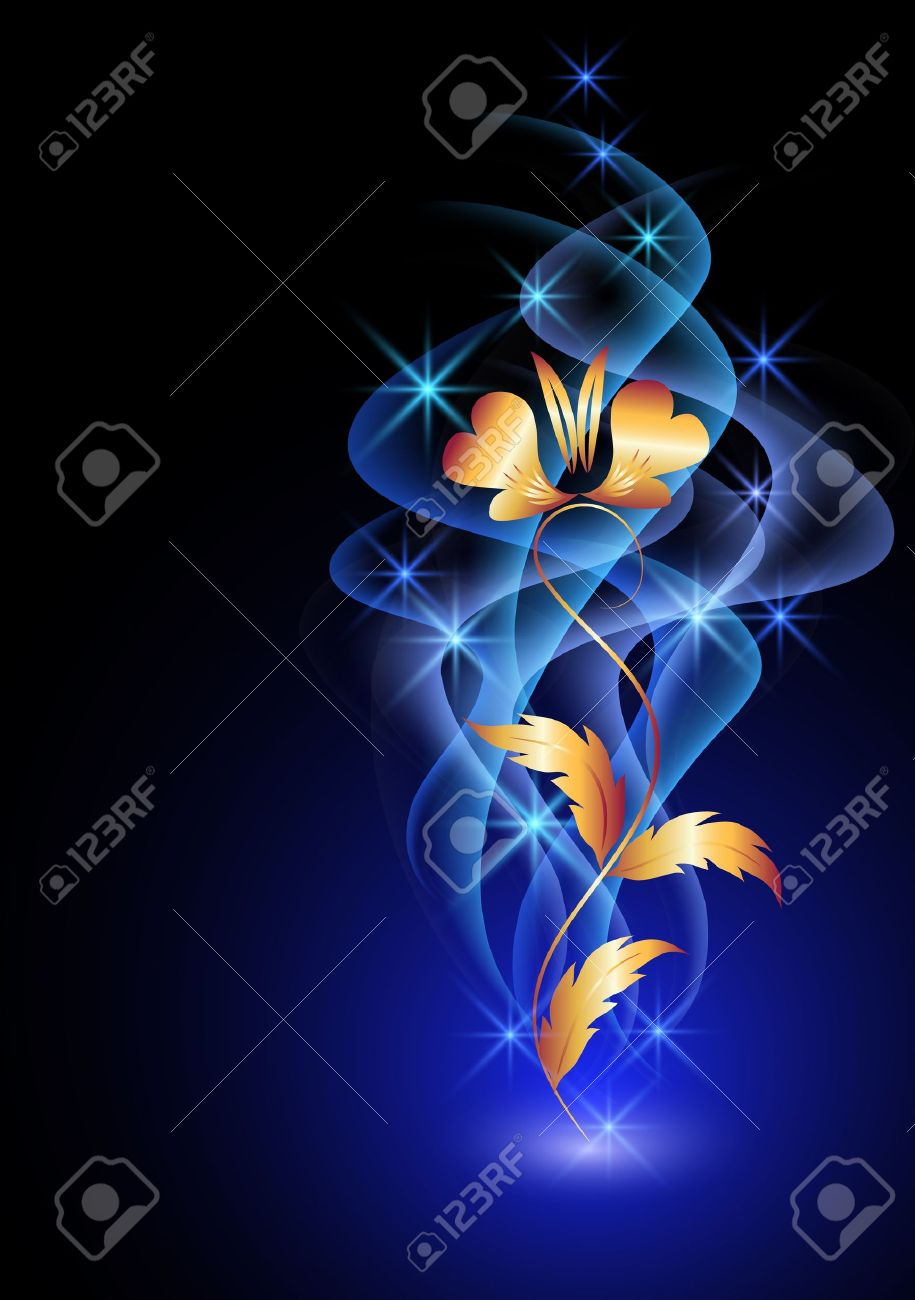 Glowing background with flowers, smoke and stars Stock Vector - 12168646