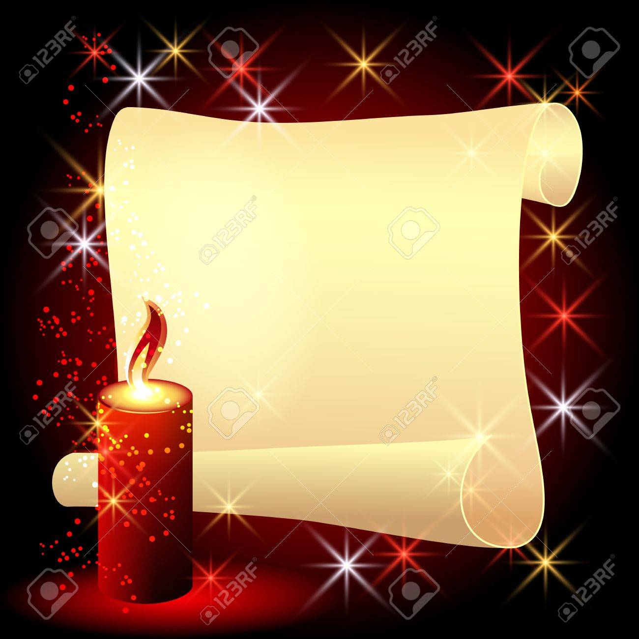Folded parchment and a burning candle on red background Stock Vector - 12168707