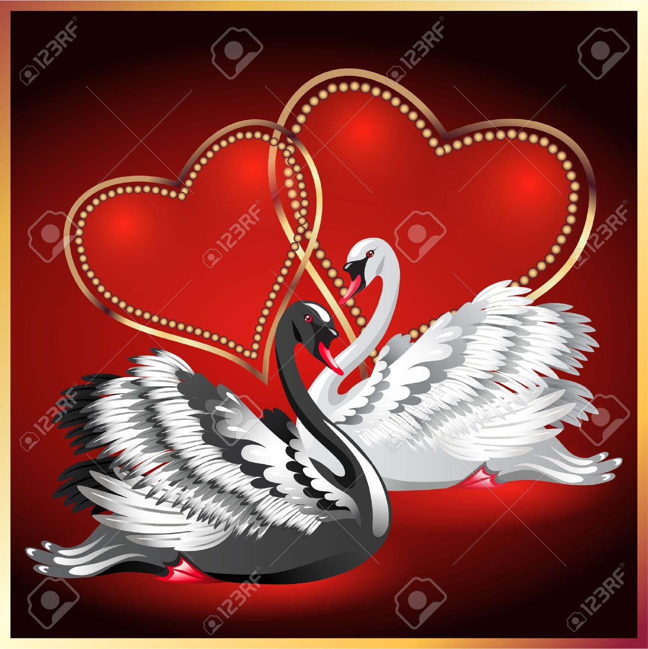 Elegant white and black swan on red background with two hearts Stock Vector - 12168721