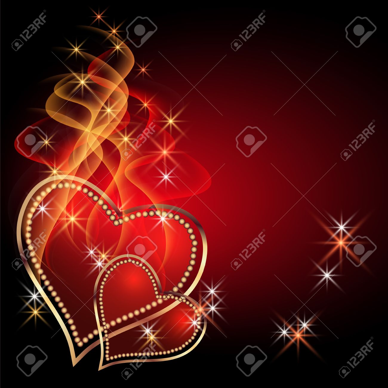 Burning two hearts with decorative smoke Stock Vector - 12168728