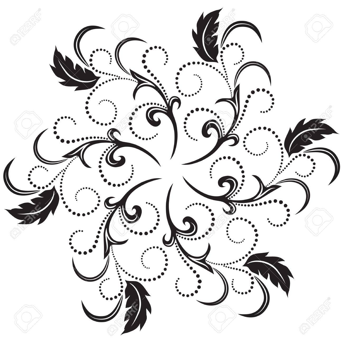 Round frame with decorative branch vector illustration stock - Decorative Round Frame With Flower Ornament Stock Vector 12469546