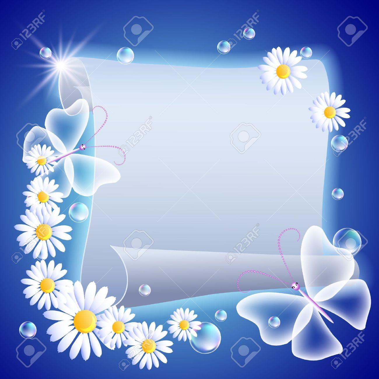 Foto de archivo , Pergamino, que brilla intensamente con flores y mariposas
