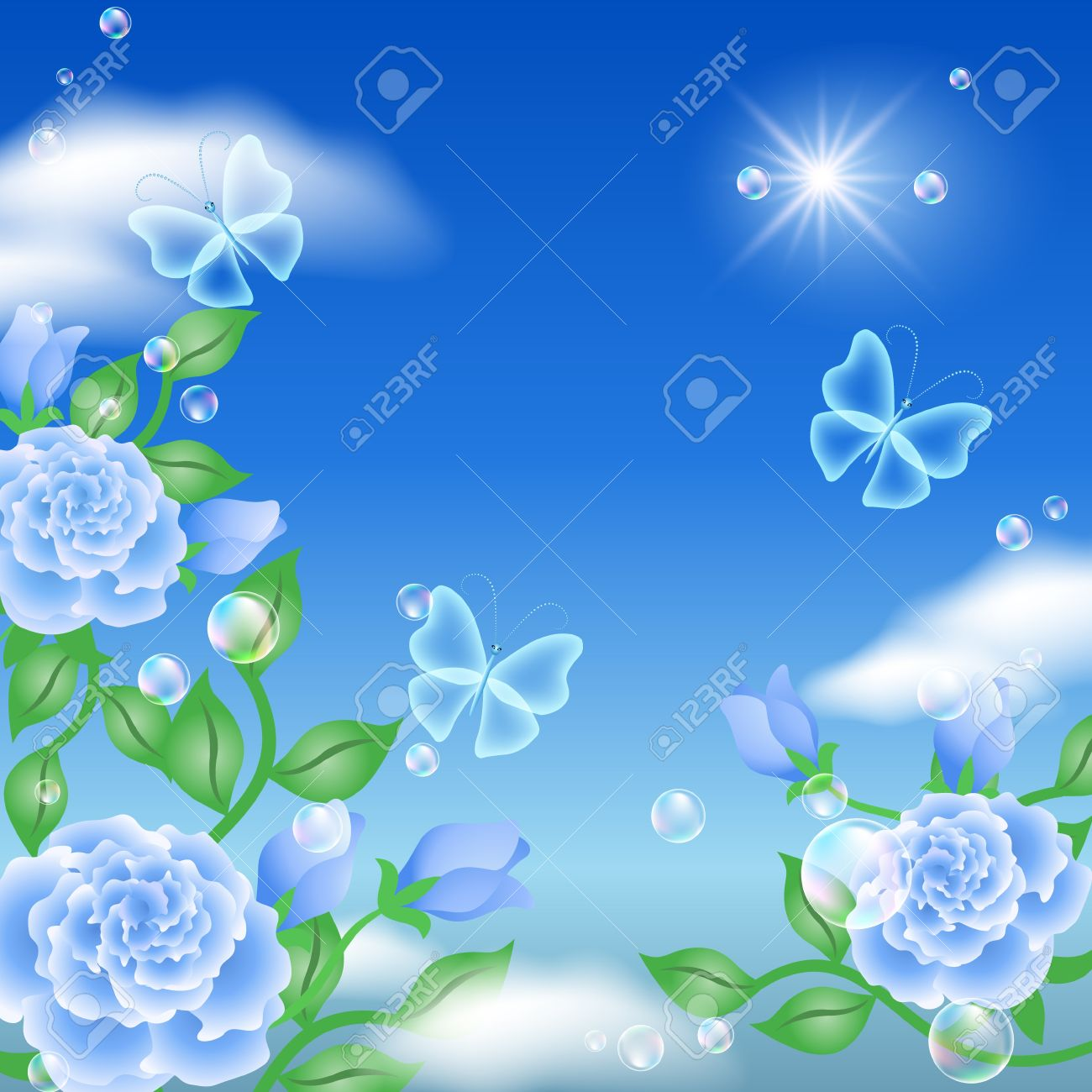 Butterfly and blue roses in the sky Stock Vector - 12809115