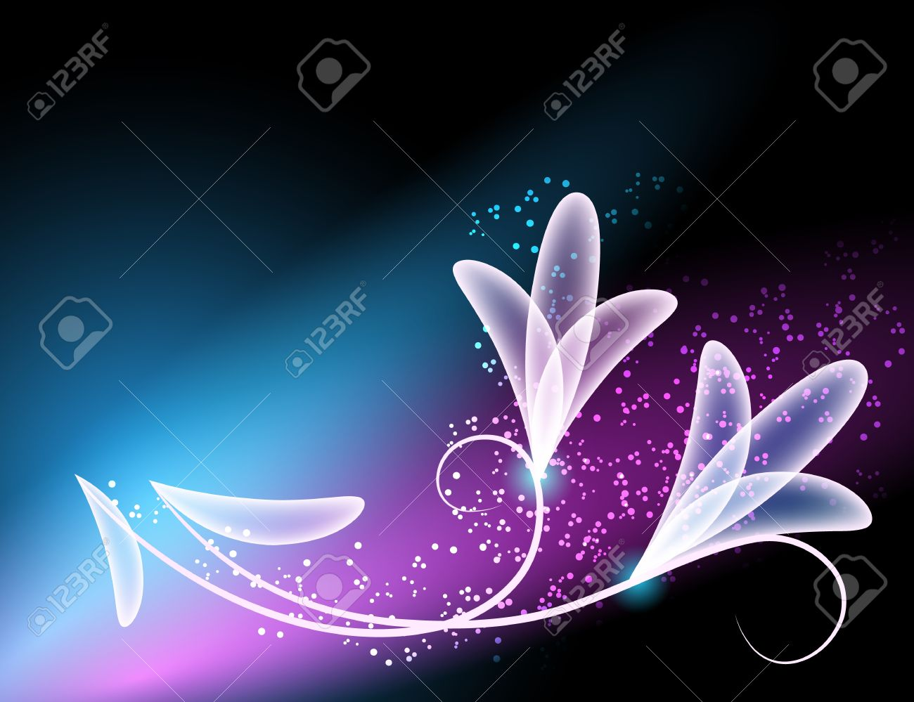 Glowing background with transparent flowers and stars - 12940349