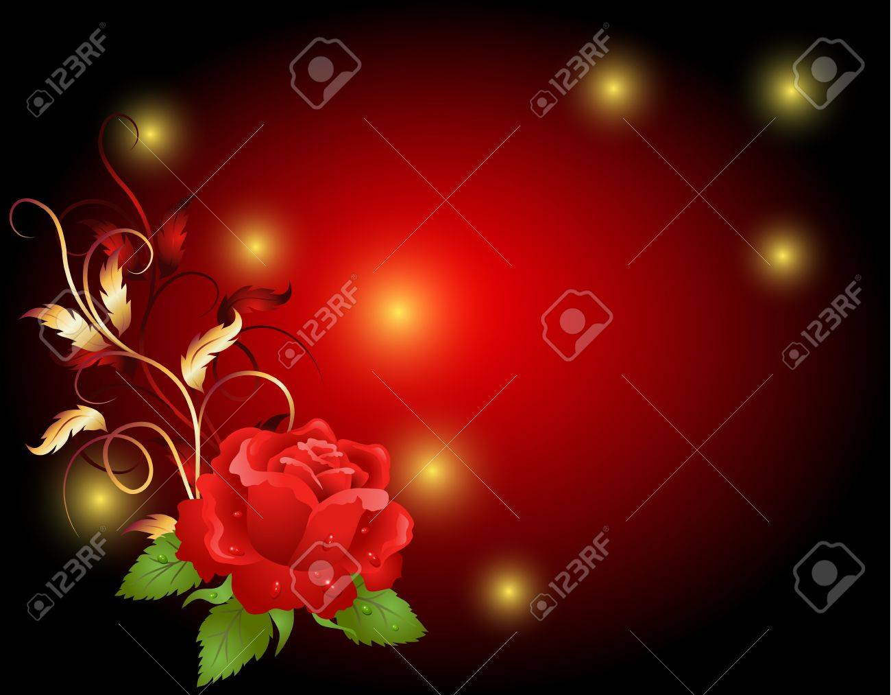 Red rose with golden frame ornament Stock Vector - 12940341