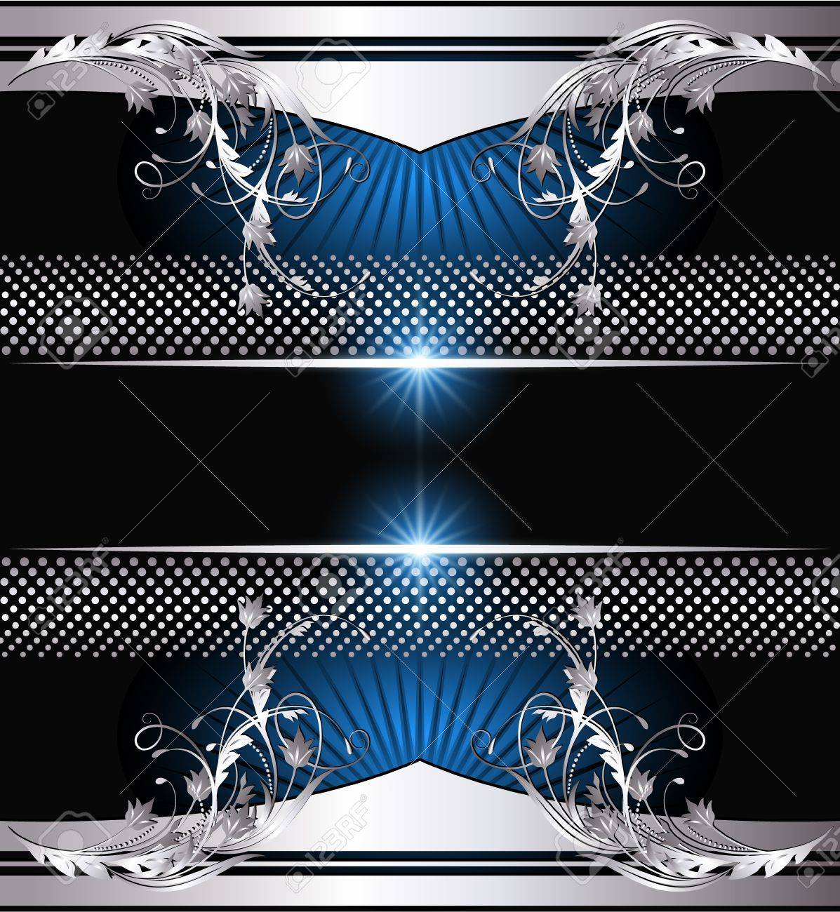 Background with glowing star and silver ornament Stock Vector - 12940352