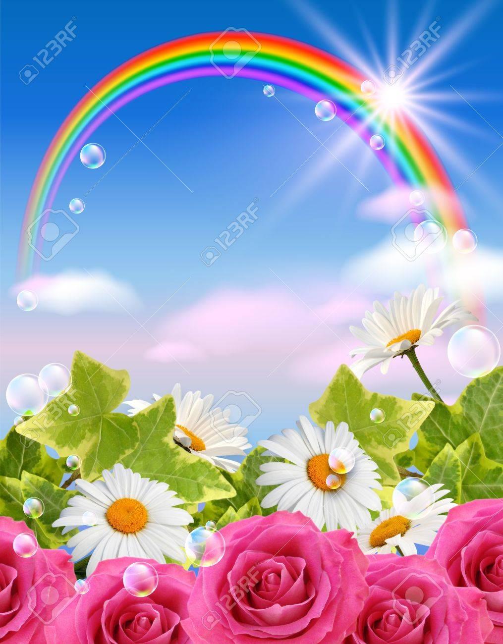 Картинки цветы и радуга