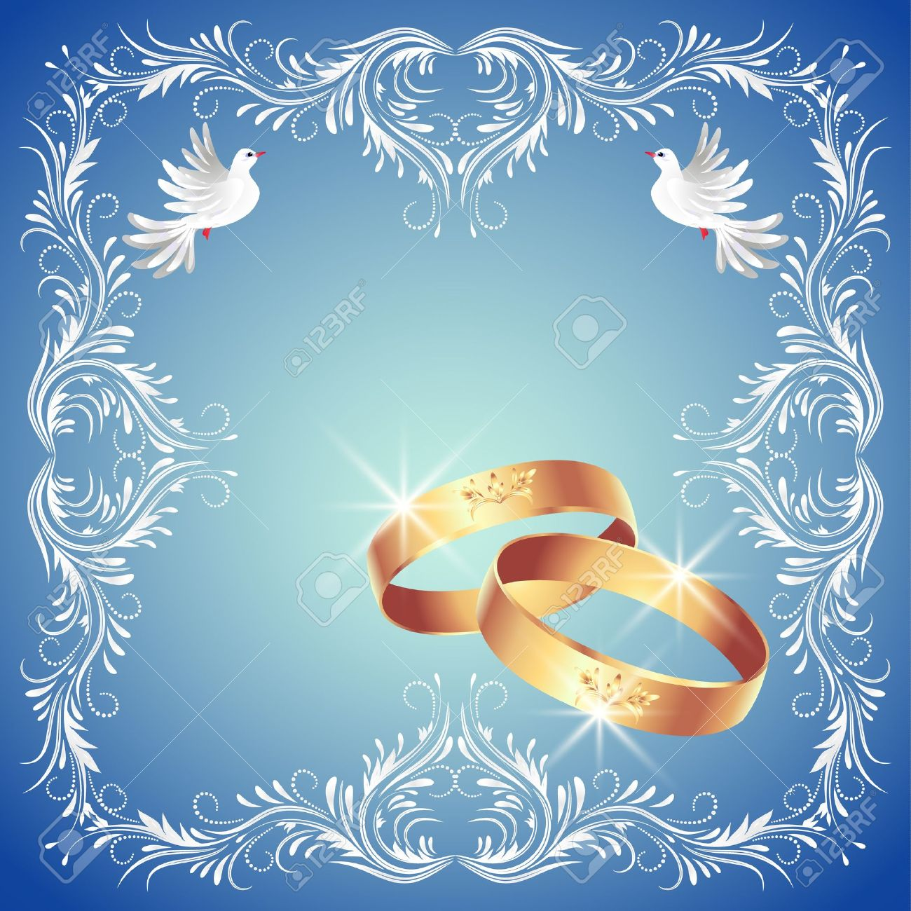 Card With Wedding Rings And Two Doves In Ornament Frame Royalty Free