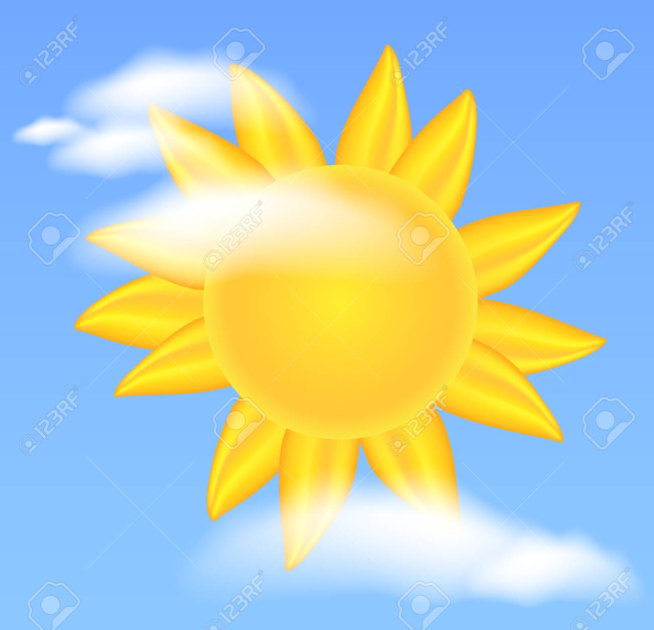 Sun and clouds Stock Vector - 13214926