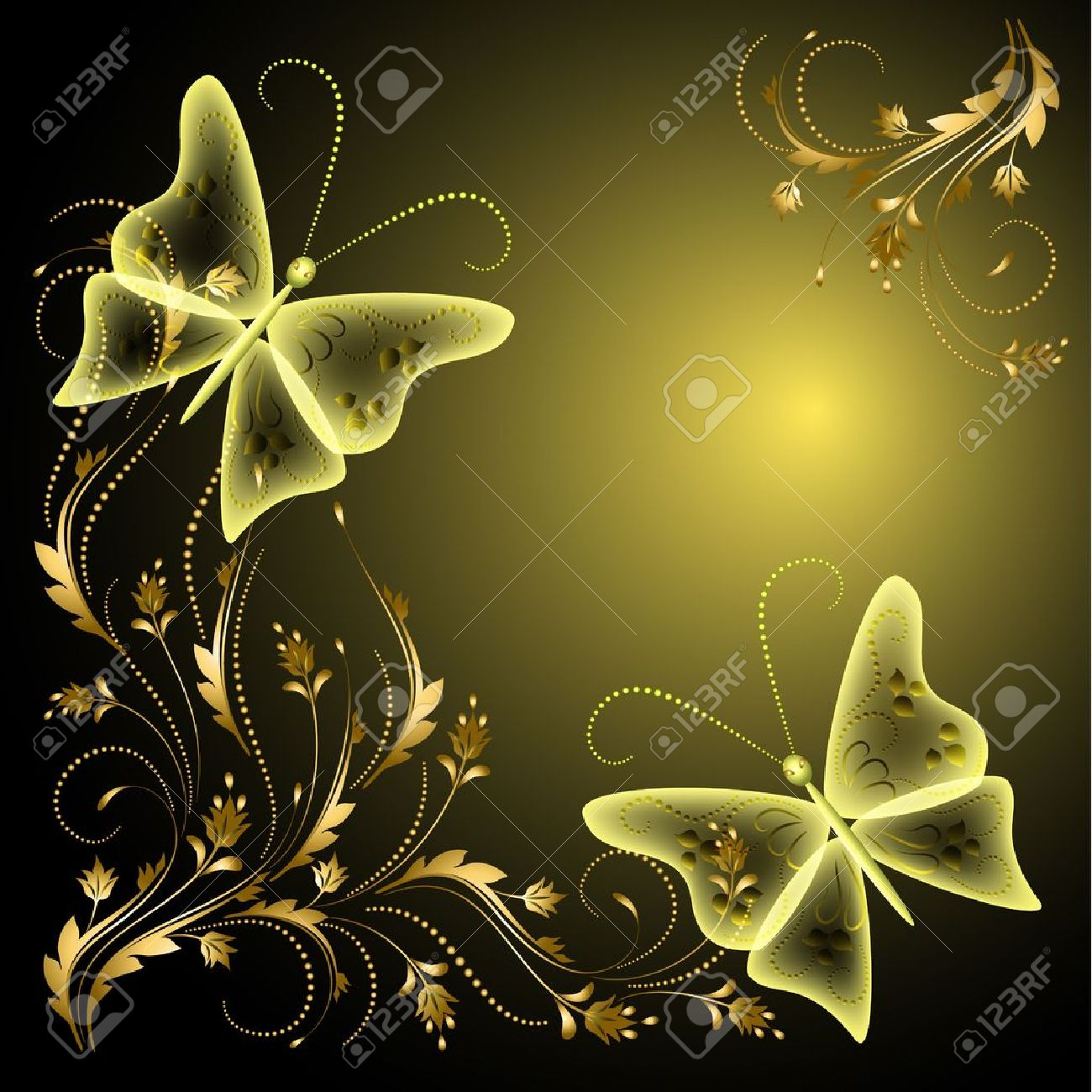 Background with butterflies and golden ornament - 13239248