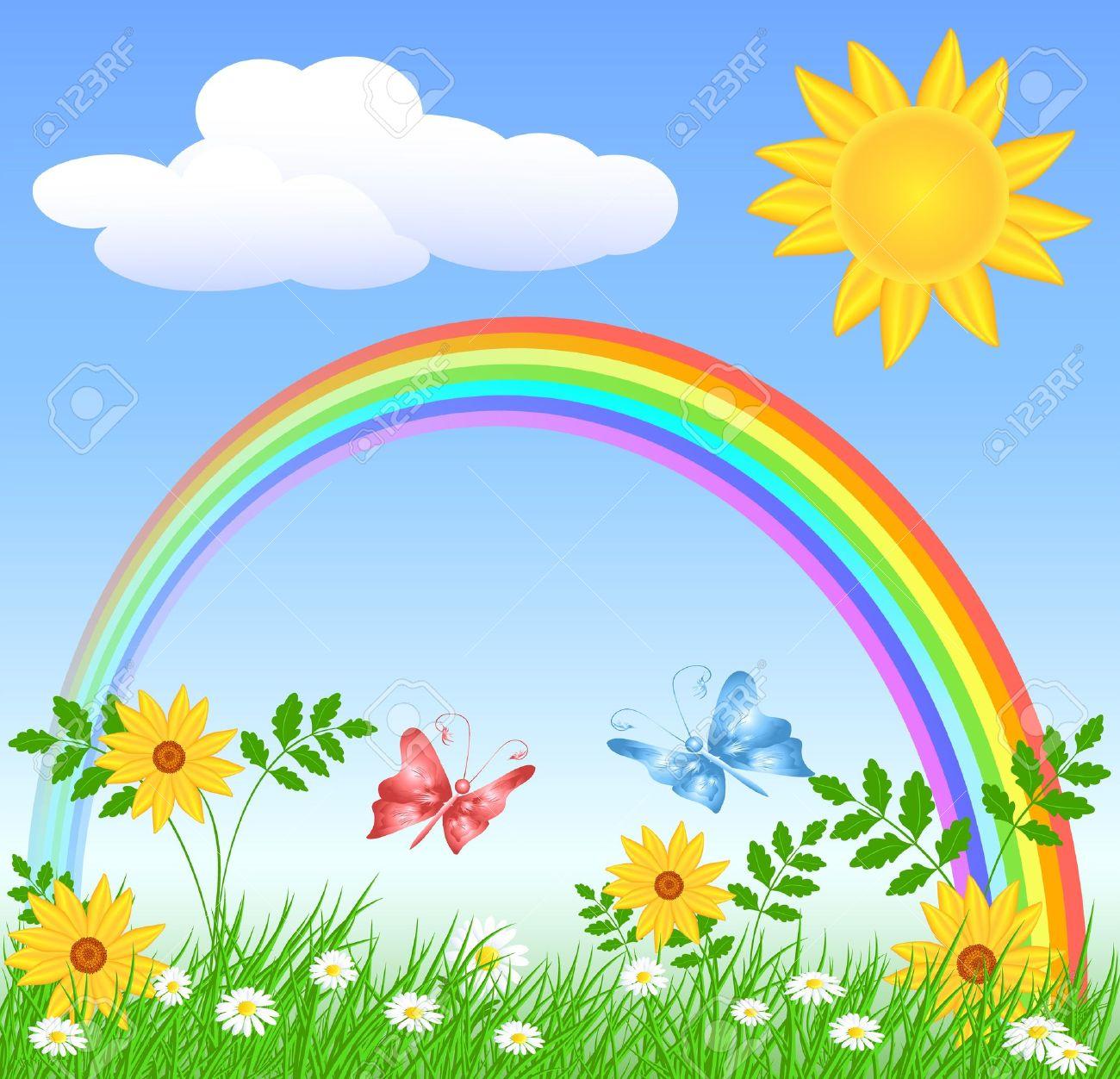 Meadow flowers, rainbow, sun and blue sky - 13239245