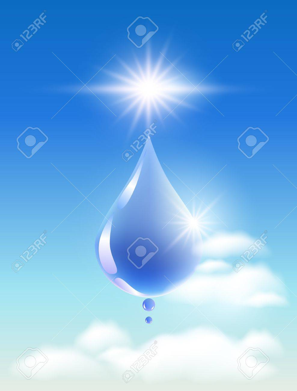 Drop of water in the clouds and sunshine  Symbol of clean  water Stock Vector - 13239247