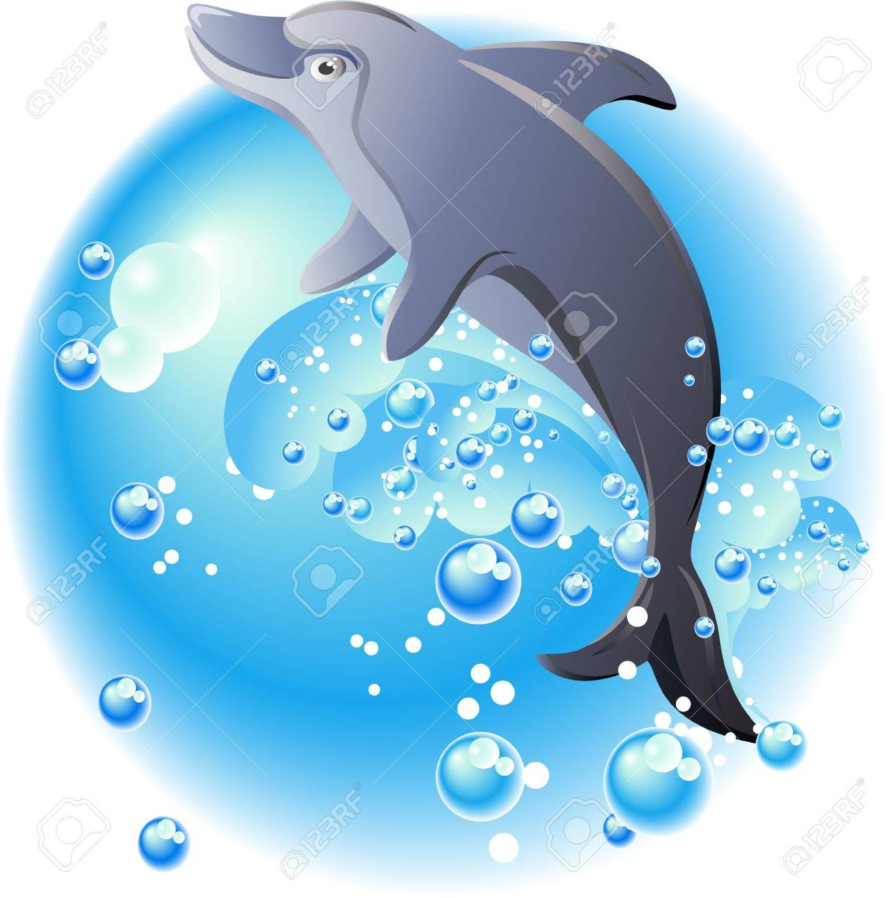 Dolphin, bubbles and blue waves Stock Vector - 13239243
