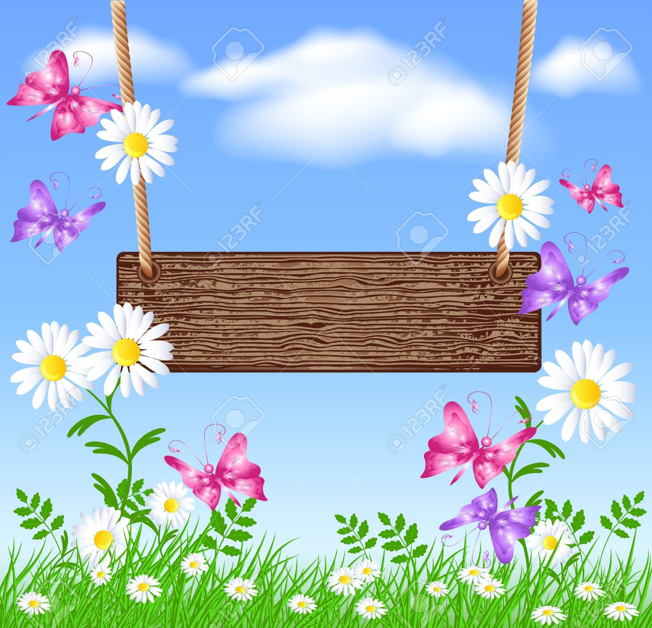 Wooden signboard on the meadow with daisies Stock Vector - 13419091