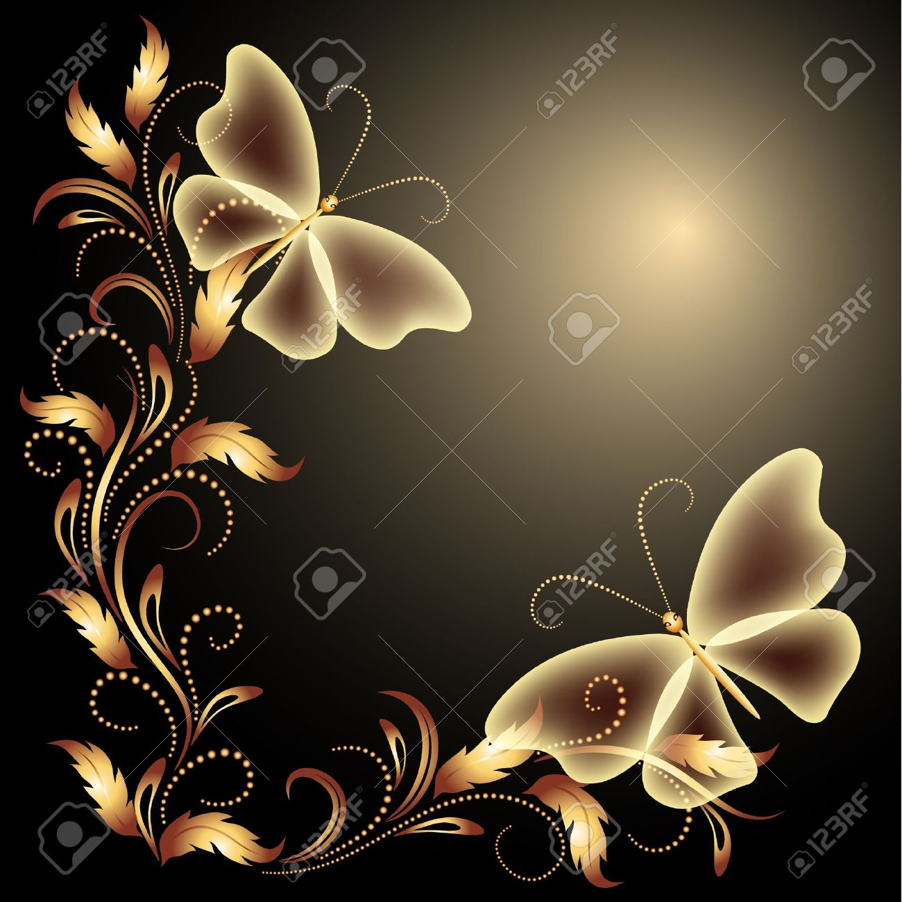 Background with butterflies and golden ornament - 13531813