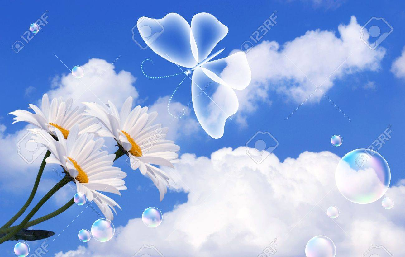 Butterfly, clouds and bubbles Stock Photo - 13531871