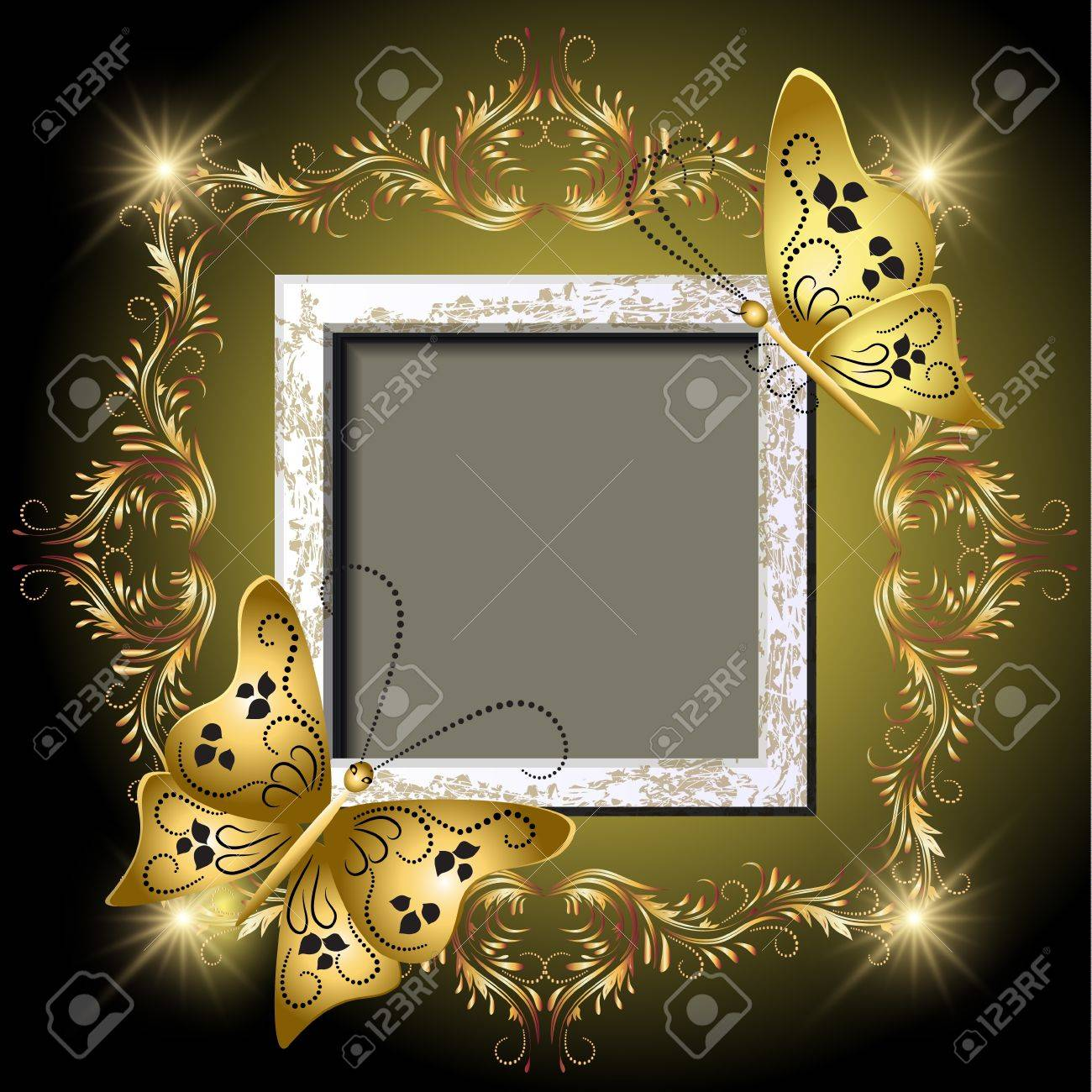 Background with grungy photo frame, butterflies and golden ornament for inserting text and photo - 13623219