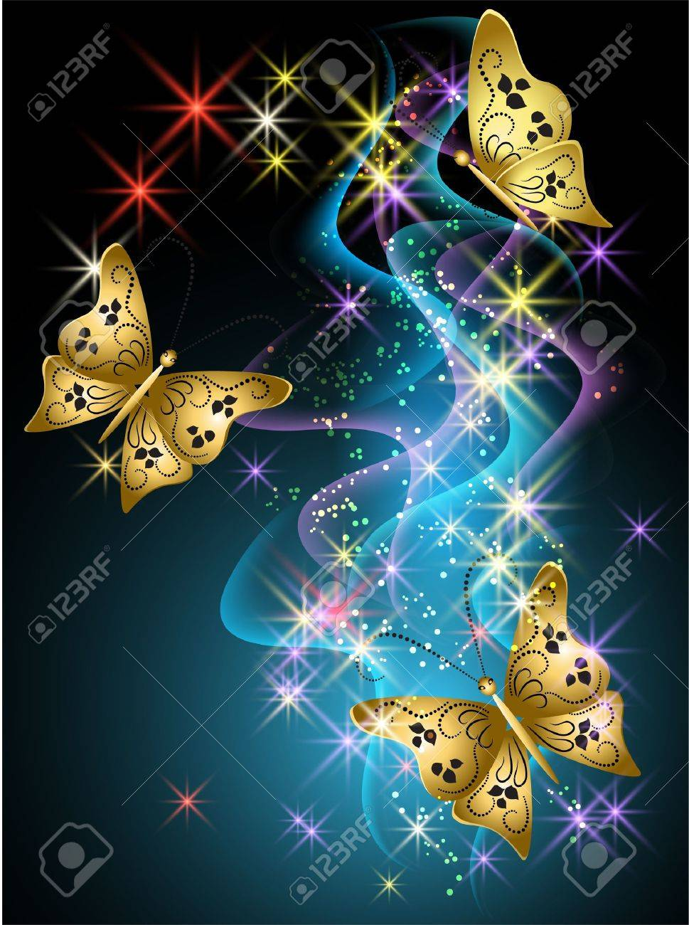 glowing background with smoke stars and butterfly royalty free
