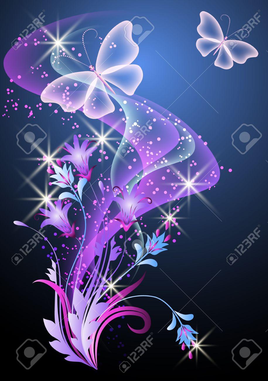 Foto de archivo , De fondo que brilla intensamente con el humo, las flores y las mariposas