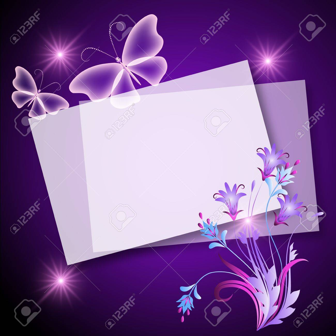 Glowing background with paper, flowers and butterfly Stock Vector - 13623235
