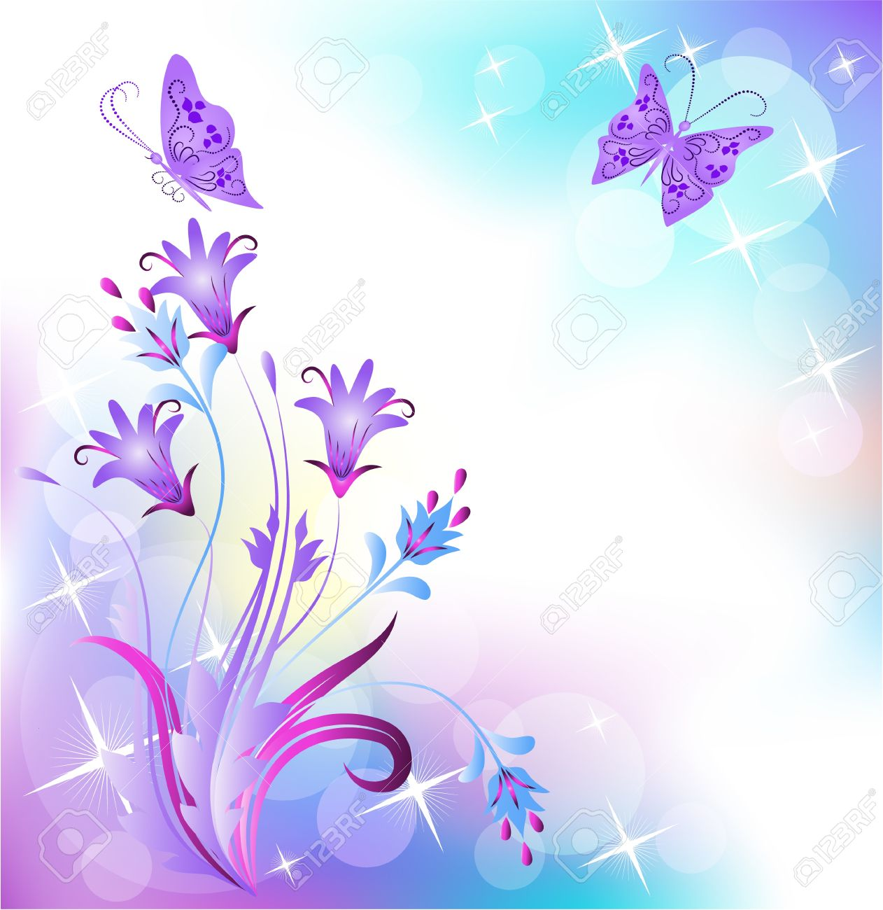 Floral background with butterfly - 13623232
