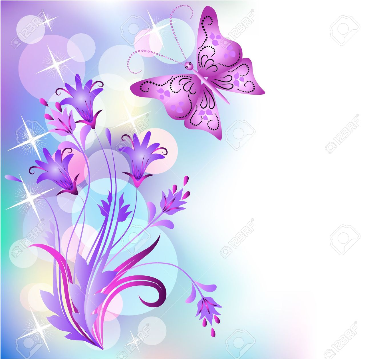 Floral background with butterfly Stock Vector - 13623231