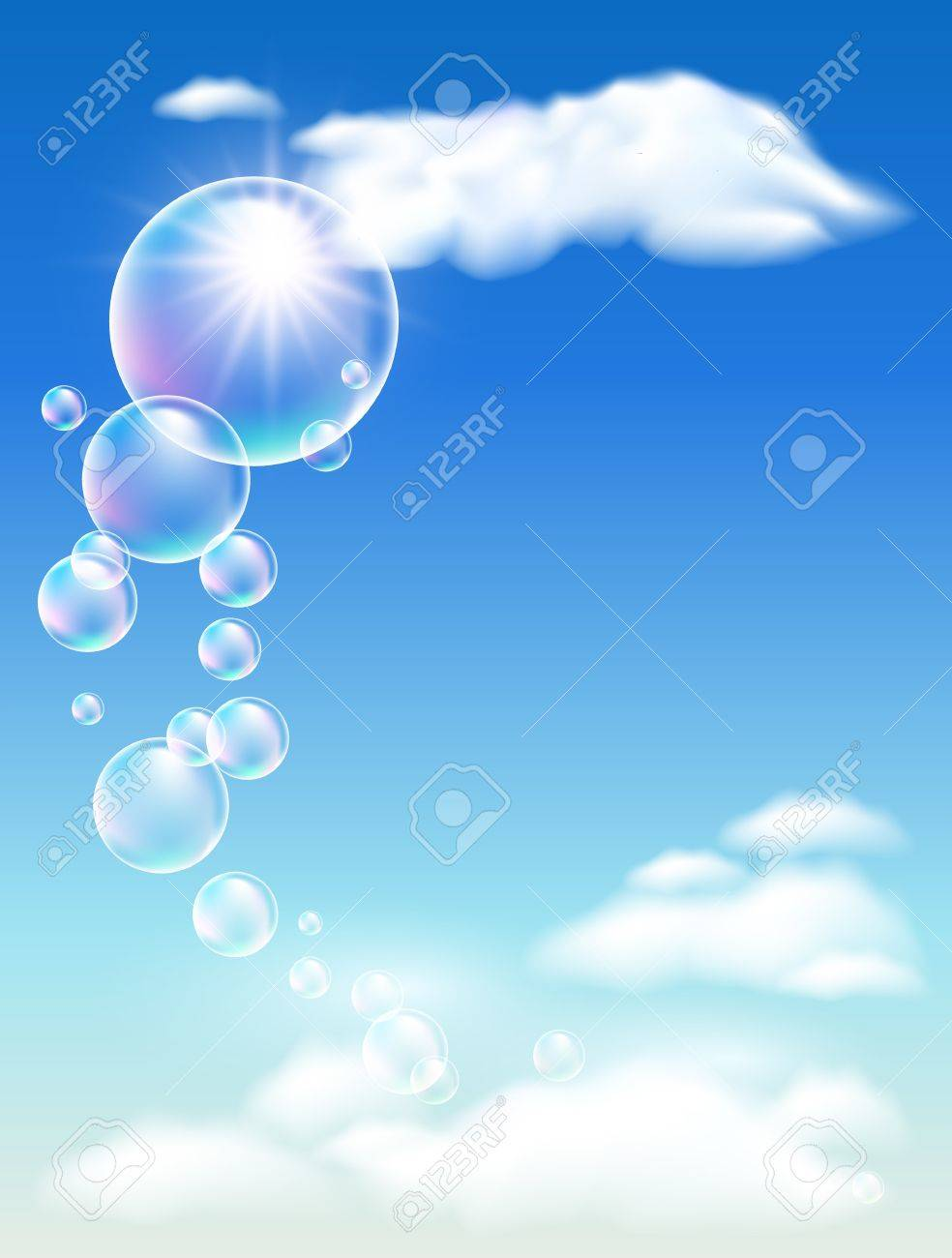Blue sky, clouds and bubbles - 13623236