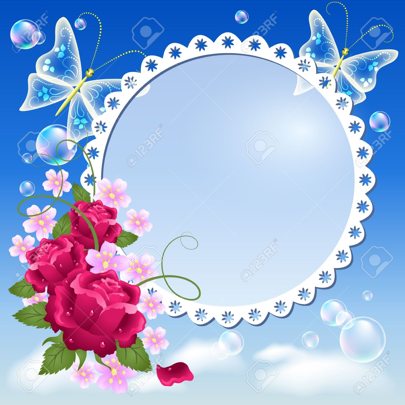 Photo frame with flowers and butterflies - 13662577
