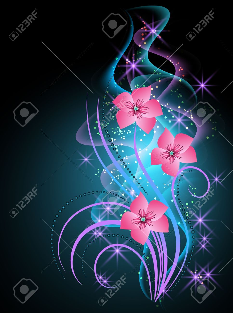 Glowing background with smoke and transparent flowers - 13662575