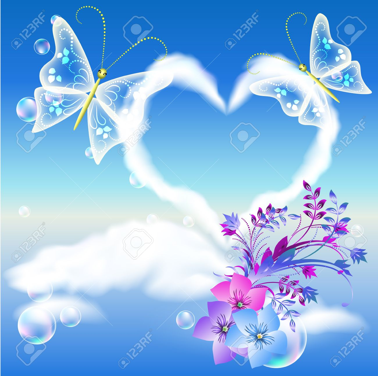 clouds heart in the sky, flowers and two butterflies royalty free
